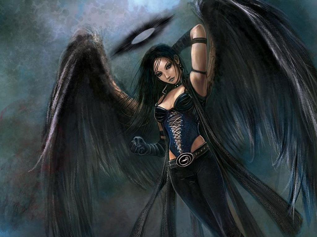 Картинки фэнтези девушка ангел с черными крыльями темный ангел.